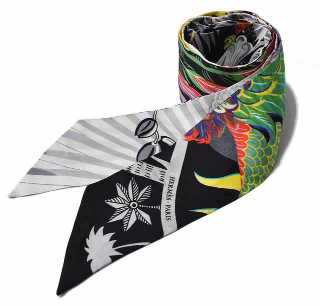 エルメス ツイリー スカーフ  HERMES シルクツイル フラワーモチーフ ホワイト/マルチ【中古】