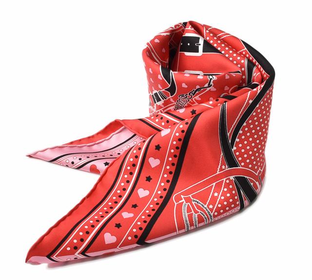 エルメス スカーフ バレンタインデー限定 HERMES スカーフ カレ70 シルクツイル ハート ピンク/レッド 未使用【中古】
