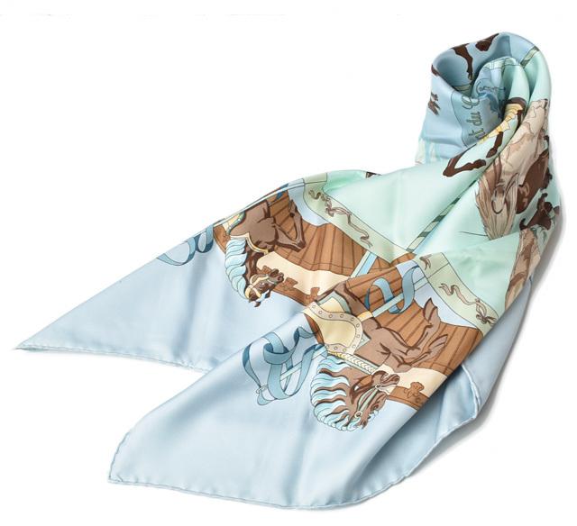 エルメス スカーフ HERMES スカーフ カレ90 シルクツイル ライトブルー【中古】