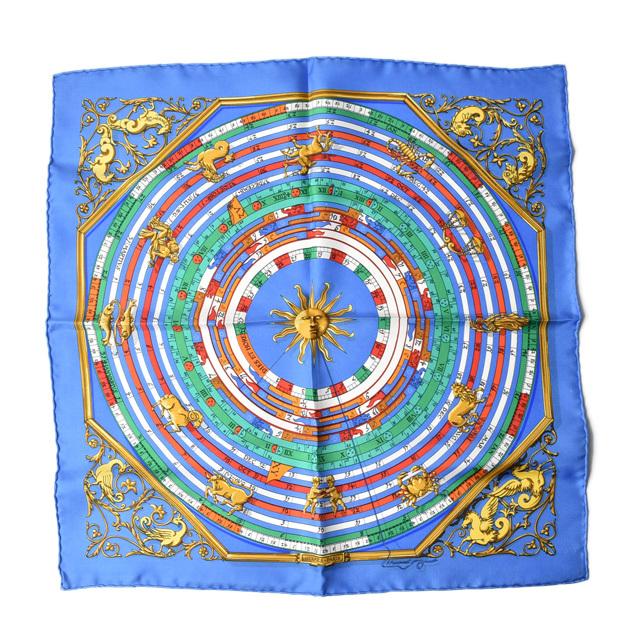 エルメス ハンカチ/スカーフ HERMES スカーフ カレ42 シルクツイル ホロスコープ/占星術 ライトブルー