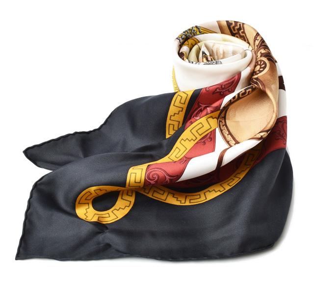 エルメス スカーフ HERMES スカーフ カレ90 シルクツイル ウエスタン/カウボーイ ブラック【中古】
