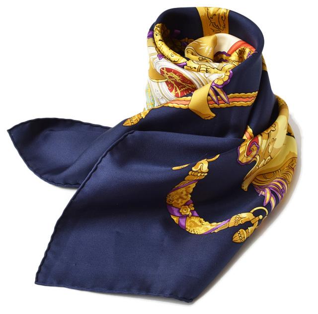 エルメス スカーフ HERMES スカーフ カレ90 シルクツイル マリン/ゴールド【中古】