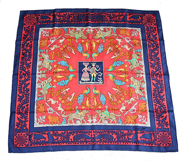 エルメス スカーフ HERMES スカーフ カレ90 シルクツイル アーリーアメリカ ブルー/レッド 【中古】