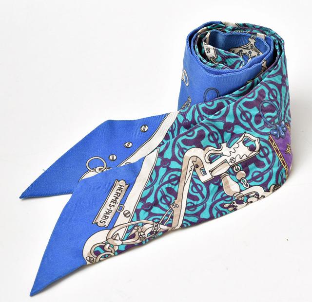 エルメス ツイリー スカーフ HERMES シルクツイル ブルー/ターコイズ【中古】