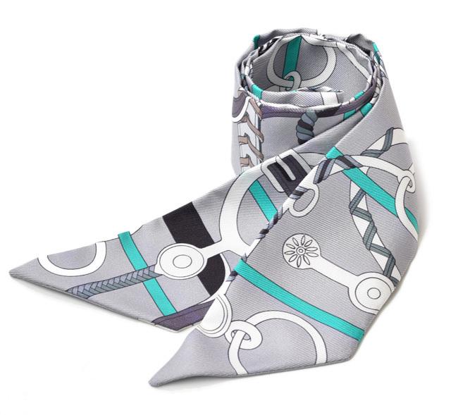 エルメス ツイリー スカーフ HERMES シルクツイル ライトグレー/グレー  未使用【中古】