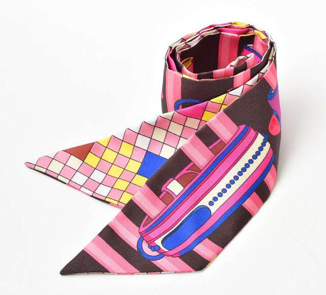 エルメス ツイリー スカーフ HERMES シルクツイル バングルモチーフ ピンクマルチ  未使用【中古】