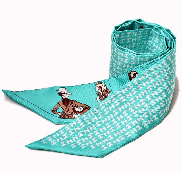 エルメス ツイリー スカーフ  HERMES シルクツイル Hロゴ ターコイズ/セピア/ブラック 未使用【中古】