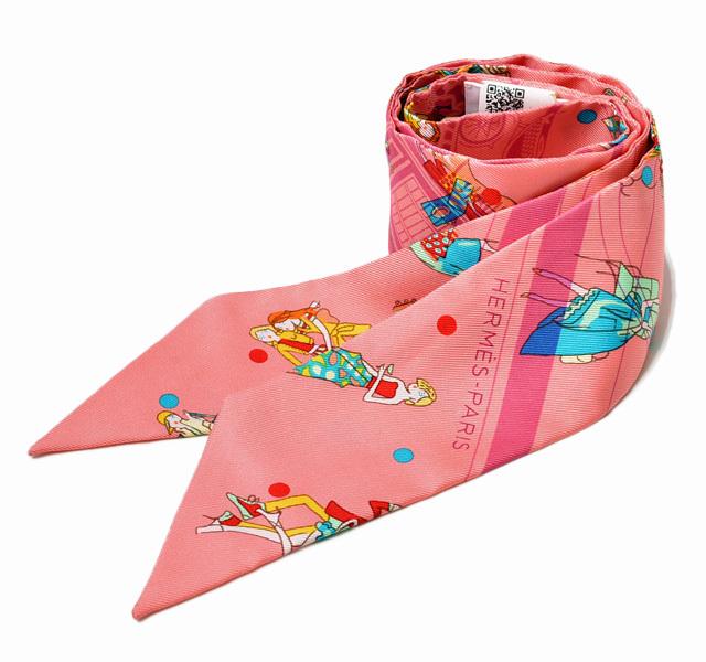 エルメス ツイリー スカーフ  HERMES シルクツイル Hロゴ ローズ/ピンクマルチ 未使用【中古】