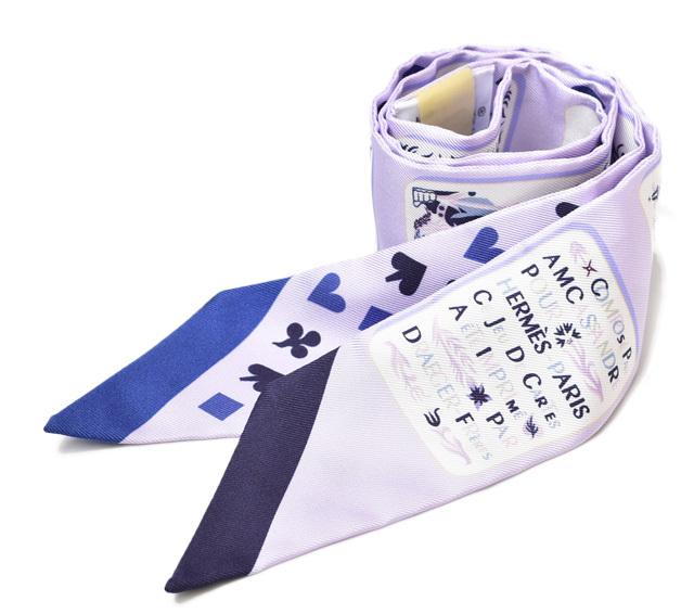 エルメス ツイリー スカーフ HERMES シルクツイル トランプ ラベンダー/マリン  未使用【中古】