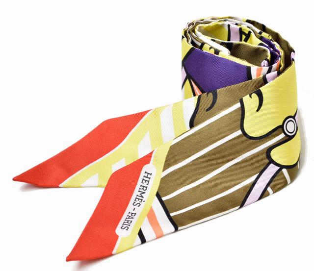 エルメス ツイリー スカーフ  HERMES シルクツイル PA/ブロンズ/バイオレット 未使用【中古】
