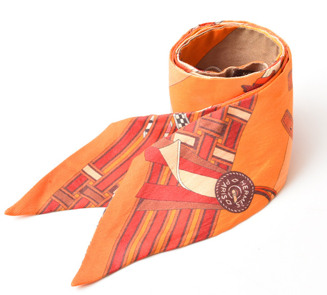 エルメス ツイリー スカーフ HERMES シルクツイル オレンジマルチ【中古】