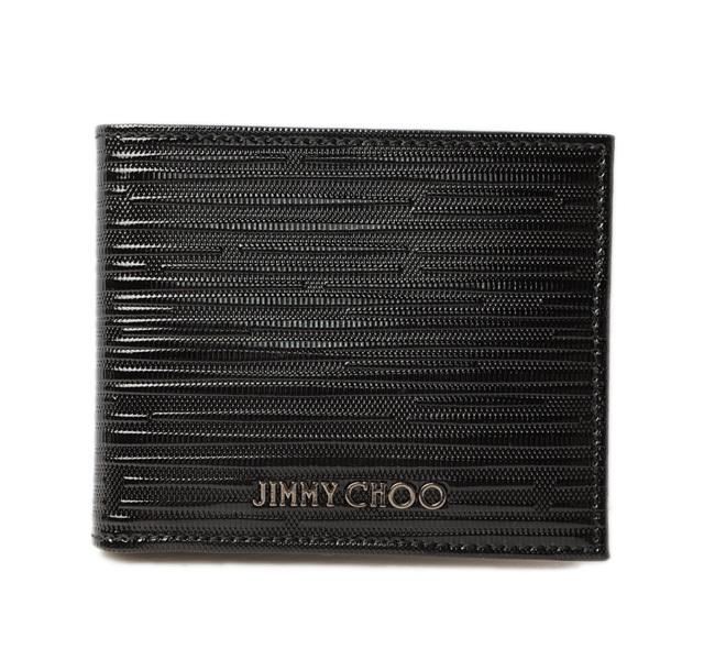 ジミーチュウ 財布/札入れ JIMMY CHOO 折財布 メンズ MARK ストライプパテント ブラック