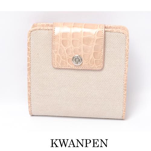 【送料無料】クワンペン KWANPEN 折り財布 レザー/キャンバス ベージュ 未使用