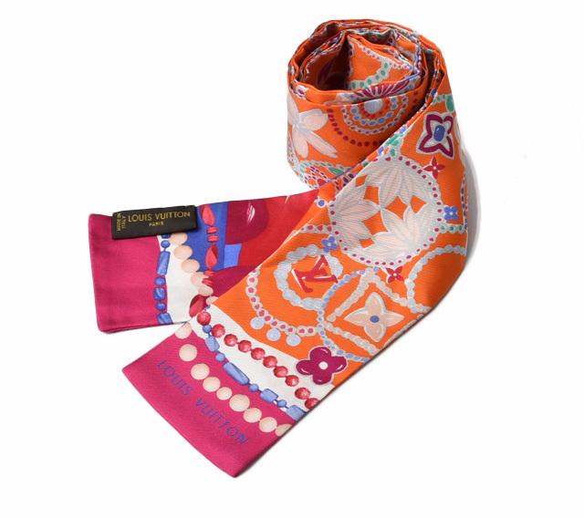 ルイヴィトン ツイリースカーフ LOUIS VUITTON バンドー/スカーフ フラワーモチーフ オレンジ/ピンク  未使用【中古】