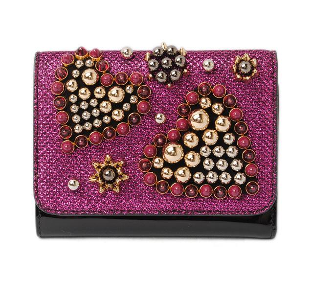 クリスチャンルブタン 財布 Christian louboutin 折財布/Macaron Mini Wallet CASSIS/BLACK/カシス 1175076 M596