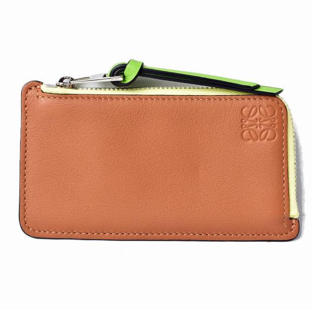 ロエベ コインケース/カードケース LOEWE ミニ財布 ソフトカーフ ブラウンマルチ