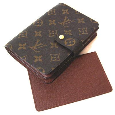 ルイヴィトン モノグラム ファスナー式折財布+パスケース付 M61207 中古A