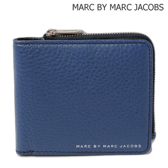 マークバイマークジェイコブス MARC BY MARC JACOBS 折財布 クラシック レザー エン ウォレット ウィズ ジップ SKIPPER BLUE/ブルー M0005205