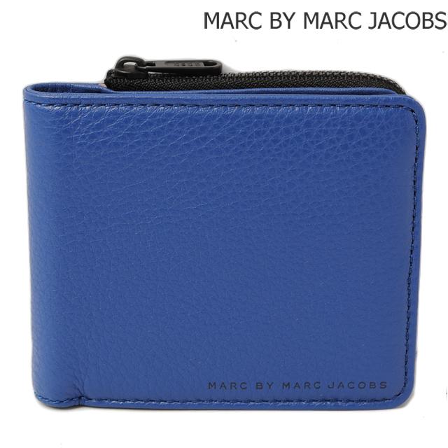 マークバイマークジェイコブス MARC BY MARC JACOBS 折財布 クラシック レザー エン ウォレット ウィズ ジップ MINERAL BLUE/ブルー M0004053