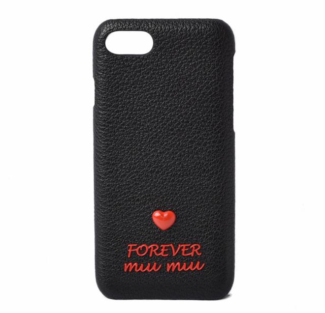 ミュウミュウ iPhone8ケース/iPhone7ケース/6/6S miumiu 5ZH035 MADRAS/マドラス FOREVER NERO/ブラック