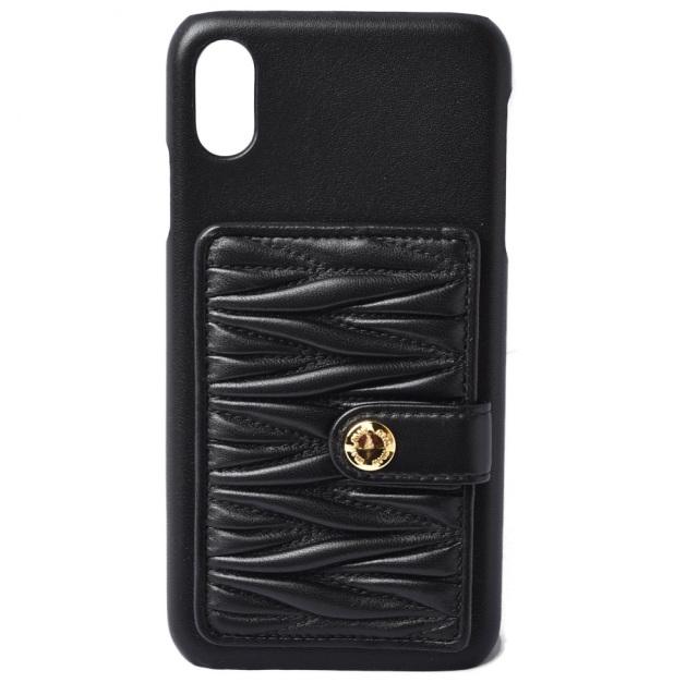 ミュウミュウ iPhone XS MAXケース/iPhone カバー miumiu 5ZH083 マテラッセ ポケット付 NERO/ブラック