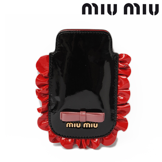 miumiu ミュウミュウiPhone ケース アイフォンケース ブラック×レッド NERO+ROSSO 5ARE42 【新品】【送料無料】