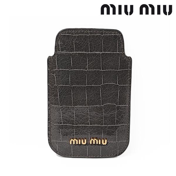 miumiu ミュウミュウ iPhone ケース アイフォンケース クロコ調 グレー/GRAFITE 5ARE42【新品】【送料無料】