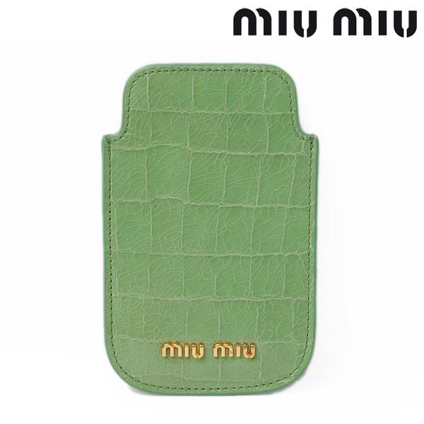 miumiu ミュウミュウ iPhone ケース アイフォンケース クロコ調 ライトグリーン/ACQUAMARINA 5ARE42【新品】【送料無料】