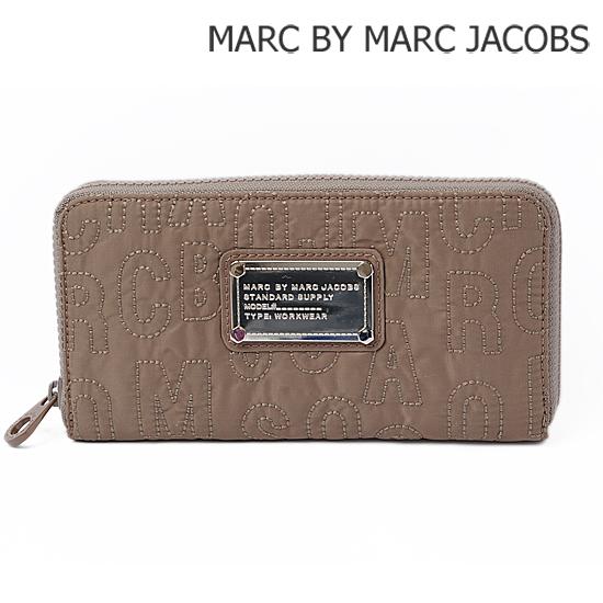 MARC BY MARC JACOBS(マークバイマークジェイコブス)ラウンドファスナー式財布 ロゴ/クォーツ グレー M3PE038【新品】【送料無料】
