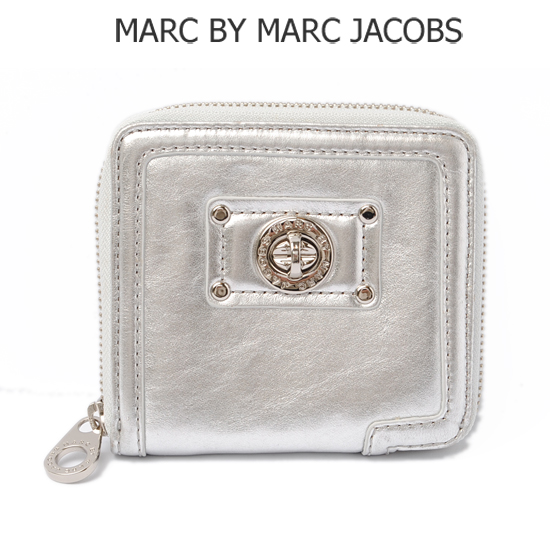 MARC BY MARC JACOBS(マークバイマークジェイコブス)札入れ/折財布 パテントレザー/シルバー M383404 【新品】【送料無料】
