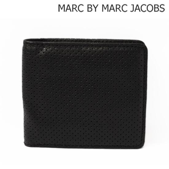 MARC BY MARC JACOBS(マークバイマークジェイコブス) メンズライン 2折財布 ブラック(BLACK PERF) M4112427【新品】【送料無料】