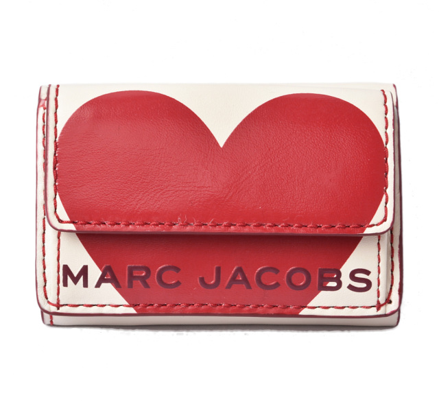 マークジェイコブス ミニ財布 MARC JACOBS ミニ トライフォールド/三つ折り ハート ホワイト/レッド M0015854