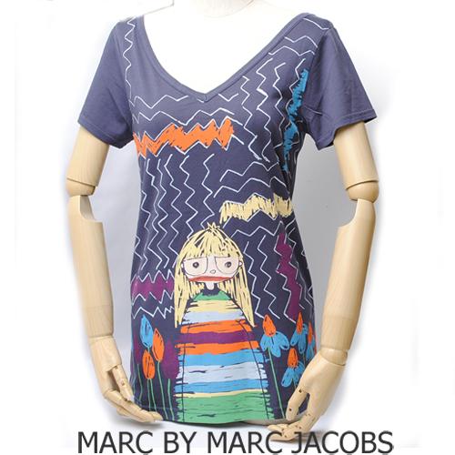 【送料無料】マークバイマークジェイコブス レディース 半袖Tシャツ ミス マーク/ネイビー  新品