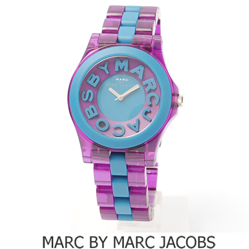 【送料無料】MARC BY MARC JACOBS(マークバイマークジェイコブス) ユニセックス腕時計 クリアパープル×ブルー MBM4526 新品