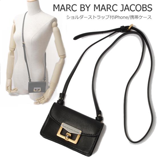 MARC BY MARC JACOBS マークバイマークジェイコブス ストラップ付 iPhoneケース/携帯ケース ブラック(BLACK) M3112476