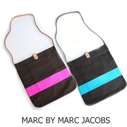 【送料無料】 MARC BY MARC JACOBS(マークバイマークジェイコブス)  ショルダーバッグ コットン ブラウン/ボーダーライン 新品