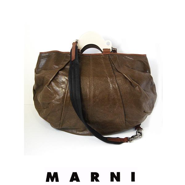 【送料無料】マルニ MARNI バルーンバッグMM レザー ブラウン 中古A