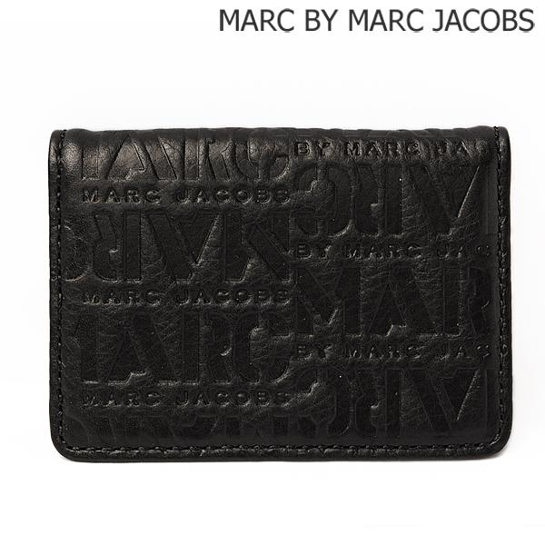 MARC BY MARC JACOBS マークバイマークジェイコブス カードケース/パスケース メンズライン ロゴマニア レザー/ブラック M4131422