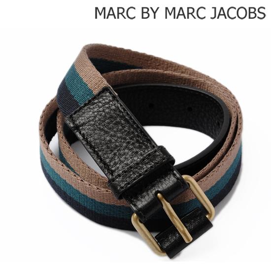 MARC BY MARC JACOBS(マークバイマークジェイコブス) メンズライン ベルト ストライプ ブルー M4121703【新品】【送料無料】