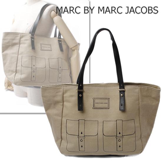 MARC BY MARC JACOBS(マークバイマークジェイコブス)トートバッグ フェイクアート ナチュラル/ブラック M3121116【新品】【送料無料】