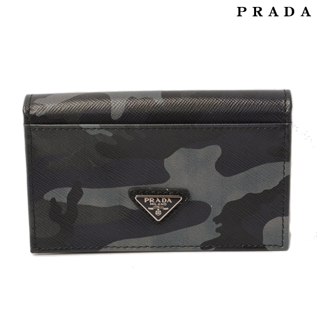 プラダ PRADA カードケース/名刺入れ カモフラージュ 2M1122 SAFFIANO CAMOUF/型押しレザー BLEU/ダークブルー
