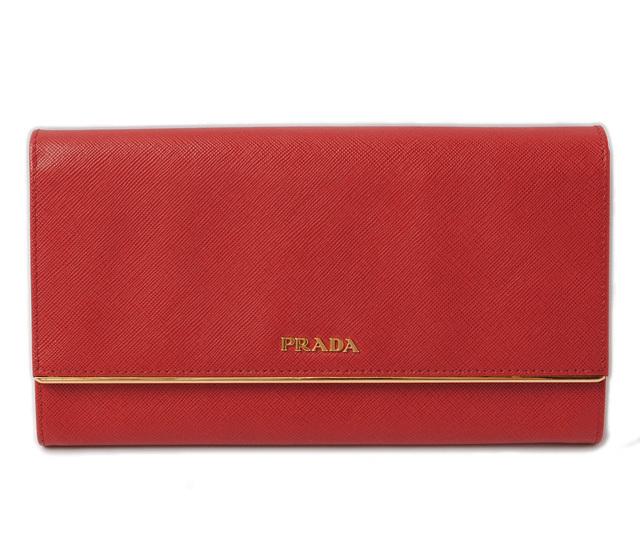 プラダ 長財布/コンパクトクラッチ PRADA SAFFIANO METAL/サフィアノ 1M1311 ルージュレッド アウトレット