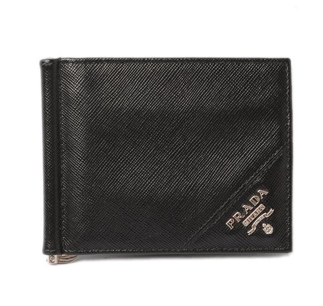 プラダ 財布/マネークリップ PRADA 折財布 2M1077 SAFFIANO METAL/型押しレザー NERO/ブラック