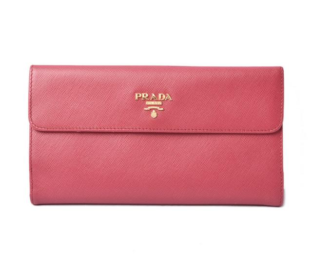 プラダ 財布 PRADA 長財布 ダブルホック式 1M1133 SAFFIANO METAL/型押しレザー PEONIA/ペオニア アウトレット