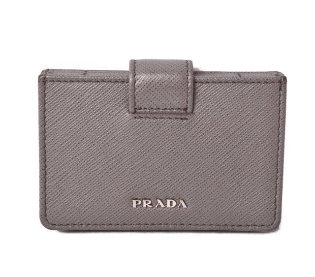 プラダ カードケース/名刺入れ/コインケース PRADA 1MC211 SAFFIANO METAL/型押しレザー MARMO/グレー アウトレット