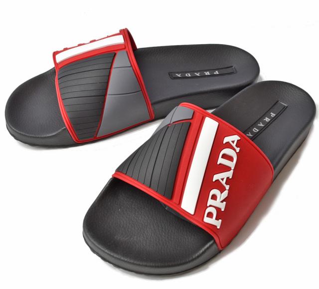 プラダ メンズサンダル PRADA スリッパ/ラバーサンダル レッド/ブラック ROSSO 4X3204