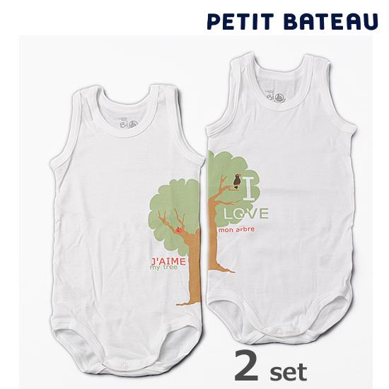 【出産祝いにも☆】PETIT BATEAU プチバトー アンダーウェア ベビー男女兼用 Bio プリント ノースリーブボディ 2枚組セット 【新品】
