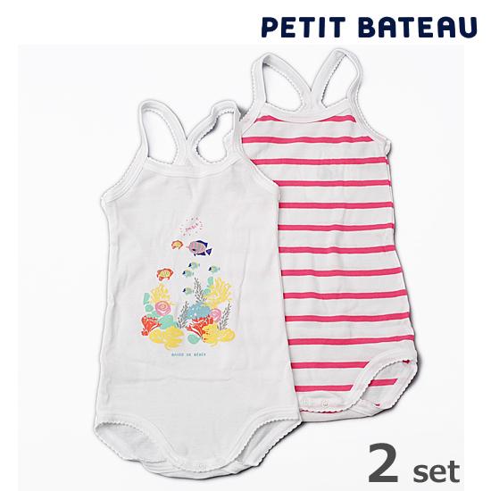 【出産祝いにも☆】PETIT BATEAU プチバトー アンダーウェアベビー女の子 プリント&マリニエール キャミソール 2枚組セット【新品】