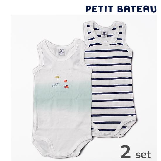 【出産祝いにも☆】PETIT BATEAU プチバトー アンダーウェア ベビー男の子 プリント&マリニエール ボディ 2枚組セット【新品】