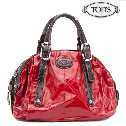 TOD'S トッズ G-BAG EASY SACCA ストラップ付2WAYハンドバッグ パテントレザー/レッド 【中古】【送料無料】
